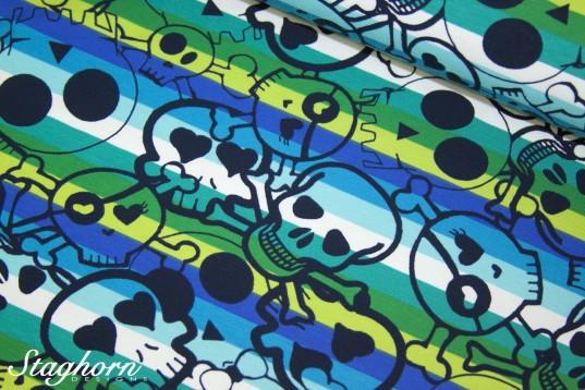 *Regenbogen Ringel Skulls* Streifen Jersey blau grün türkis