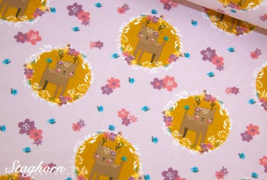 Reh Jersey rosa *cutie deer* - elastisch - Oeketex