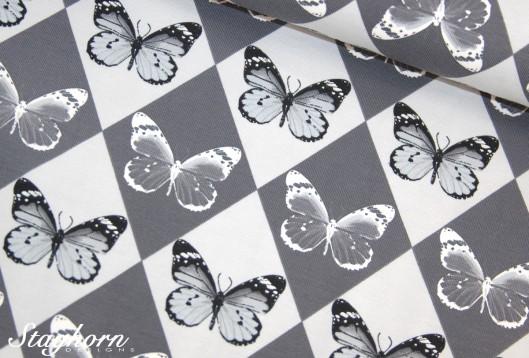 Schmetterlings Jersey grau *Raute* Jersey - Oeketex - elastisch