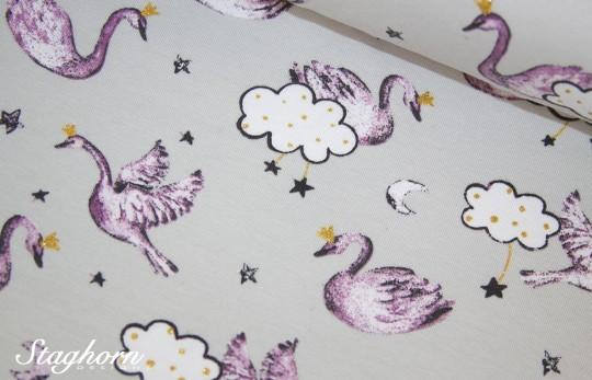 Glitzer Jersey hellgrau *Swan Sweethearts* - elastisch - Oeketex