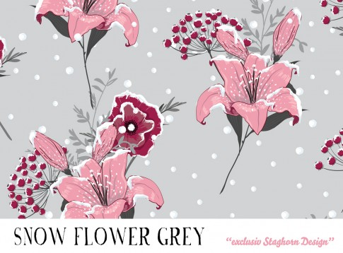 Grey Snow Flowers Bio Sweat *Cutie Pie Winter Girls*