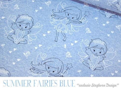 Vintage Summer Fairies hellblau meliert Bio-Sweat