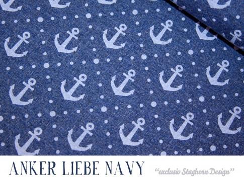 VORBESTELLUNG Vintage Anker Liebe navy meliert Bio-Sweat