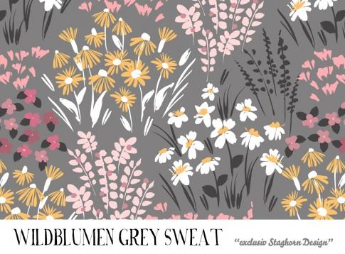 VORBESTELLUNG *Wildblumen Grey* Bio Sweat *Sewing Girls Serie*