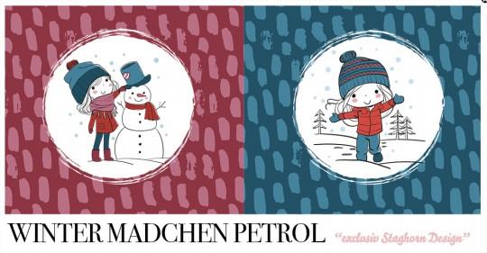 *Winter Mädchen Petrol Beere Panel* Bio Sweat *Winter Mädchen Volume 2*